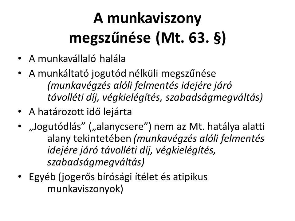 A munkaviszony megszűnése (Mt. 63. §)