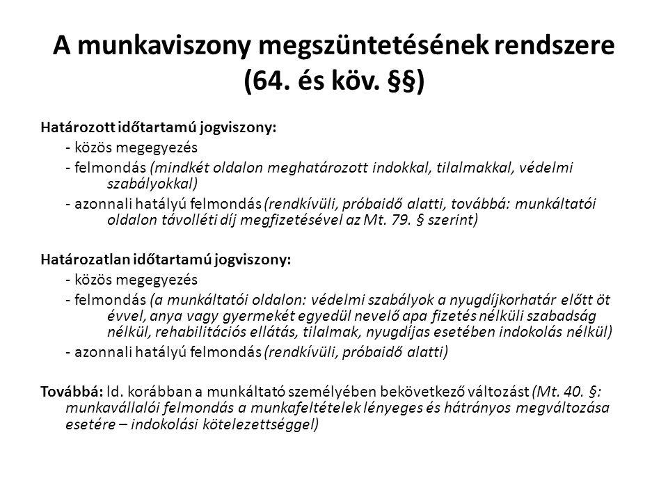 A munkaviszony megszüntetésének rendszere (64. és köv. §§)