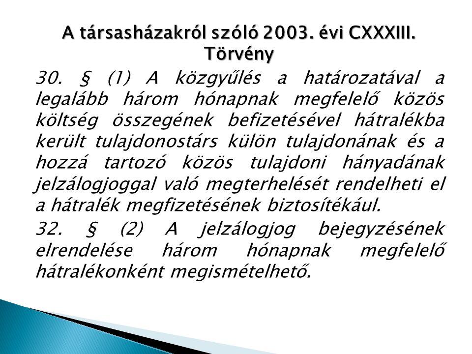 A társasházakról szóló 2003. évi CXXXIII. Törvény 30