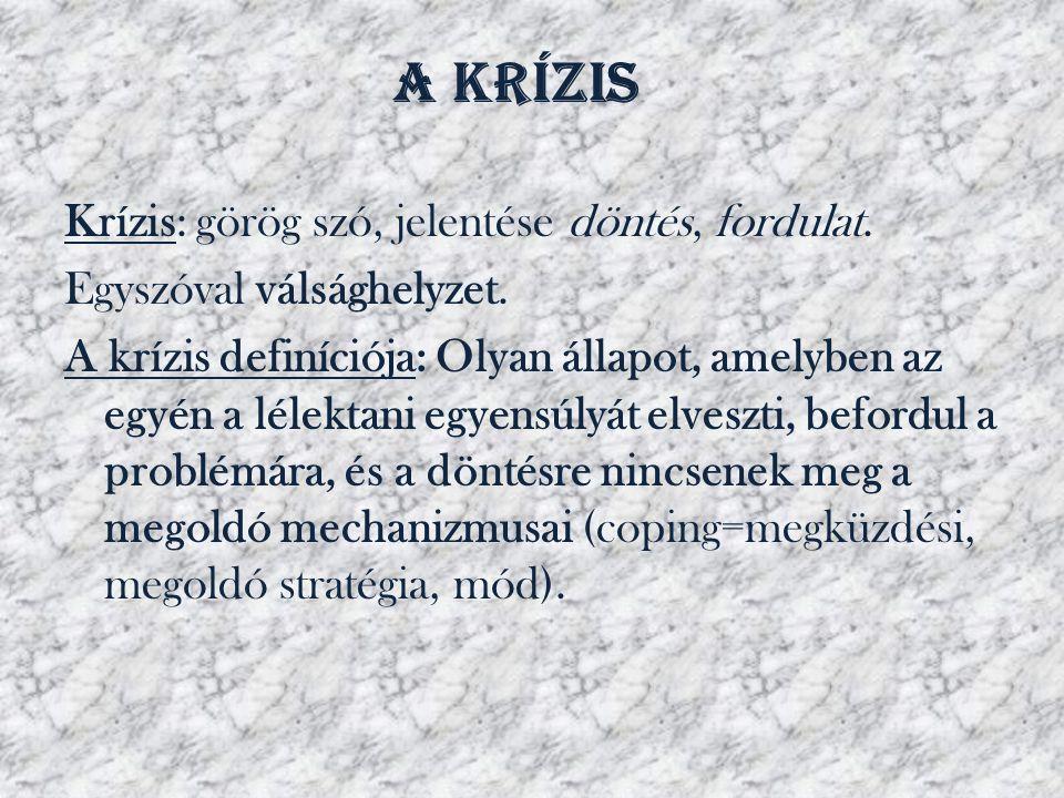 A krízis Krízis: görög szó, jelentése döntés, fordulat.