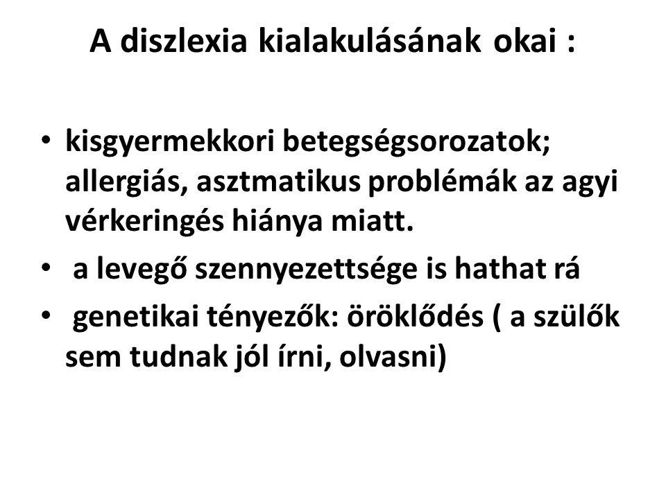 A diszlexia kialakulásának okai :