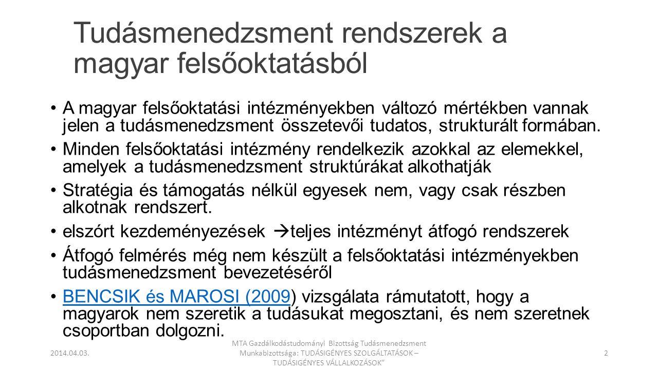 Tudásmenedzsment rendszerek a magyar felsőoktatásból