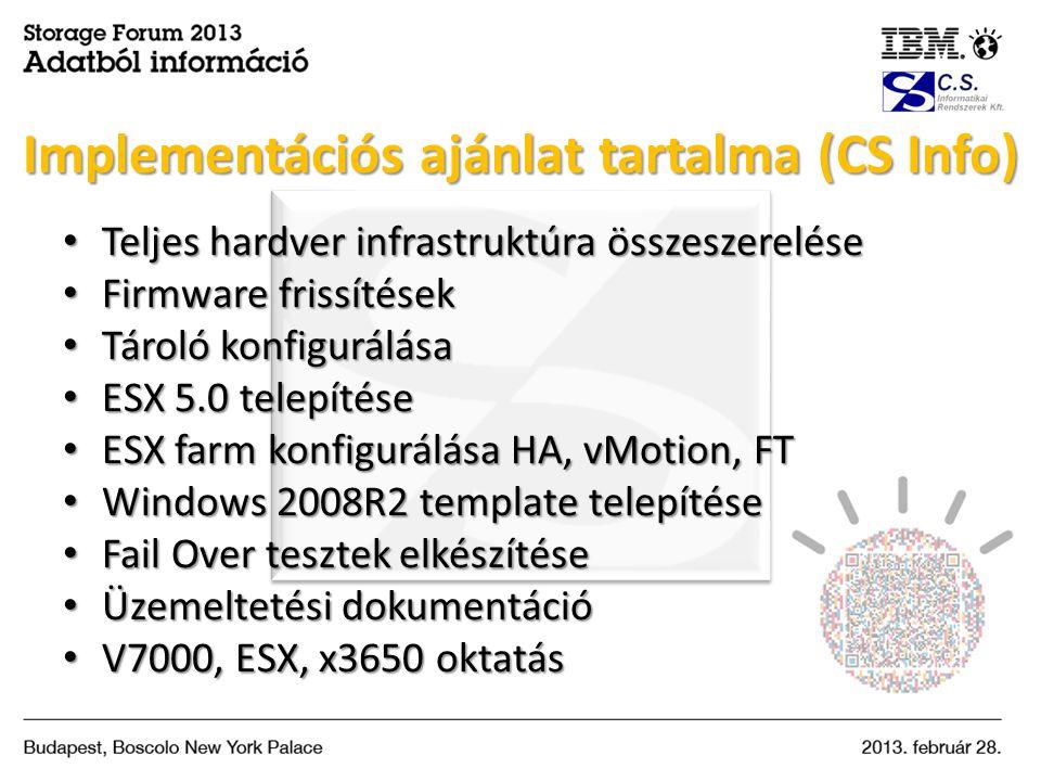 Implementációs ajánlat tartalma (CS Info)