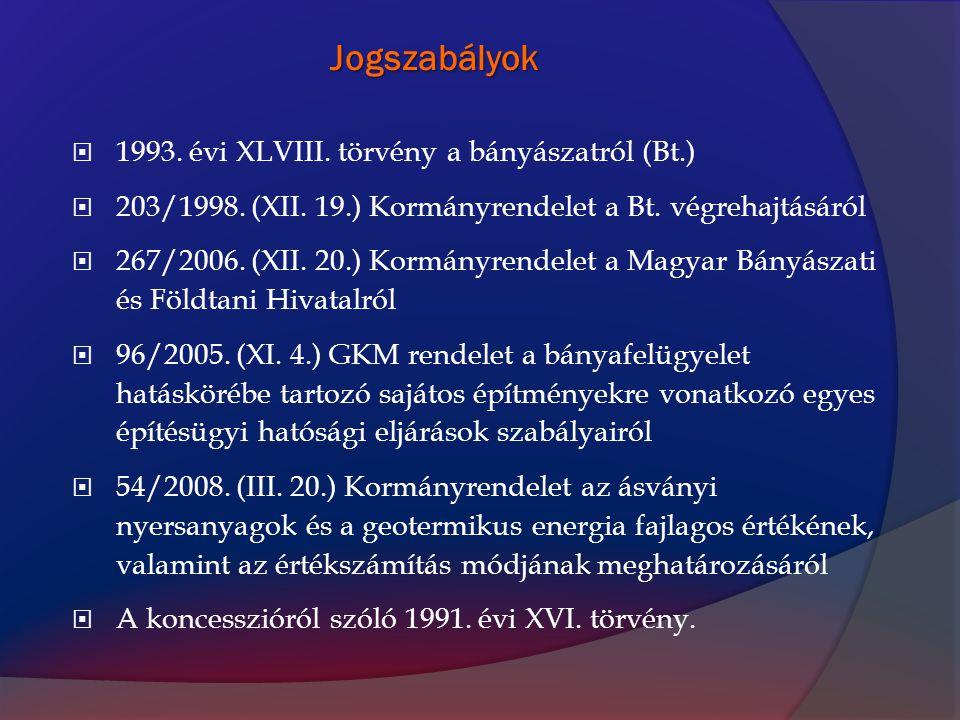 Jogszabályok 1993. évi XLVIII. törvény a bányászatról (Bt.)