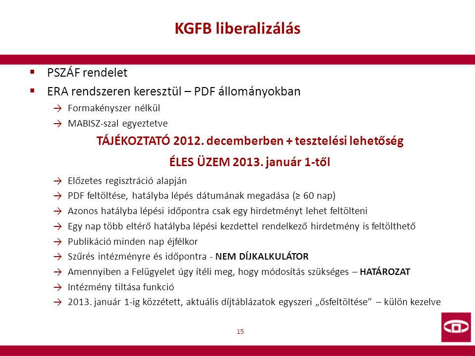 TÁJÉKOZTATÓ 2012. decemberben + tesztelési lehetőség