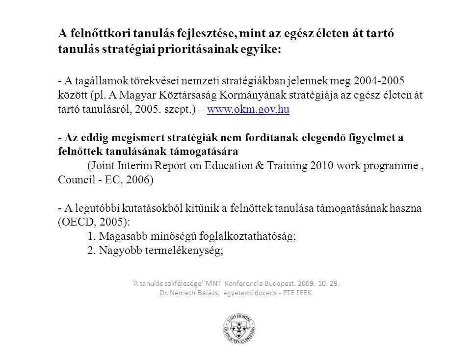A felnőttkori tanulás fejlesztése, mint az egész életen át tartó tanulás stratégiai prioritásainak egyike: - A tagállamok törekvései nemzeti stratégiákban jelennek meg 2004-2005 között (pl. A Magyar Köztársaság Kormányának stratégiája az egész életen át tartó tanulásról, 2005. szept.) – www.okm.gov.hu - Az eddig megismert stratégiák nem fordítanak elegendő figyelmet a felnőttek tanulásának támogatására (Joint Interim Report on Education & Training 2010 work programme , Council - EC, 2006) - A legutóbbi kutatásokból kitűnik a felnőttek tanulása támogatásának haszna (OECD, 2005): 1. Magasabb minőségű foglalkoztathatóság; 2. Nagyobb termelékenység;