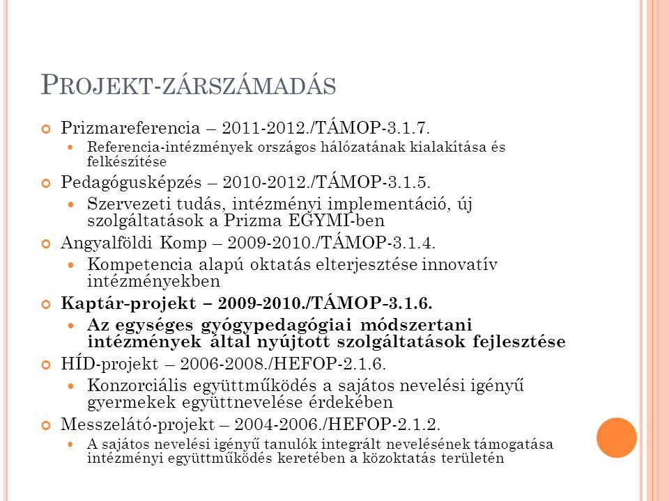 Projekt-zárszámadás Prizmareferencia – 2011-2012./TÁMOP-3.1.7.