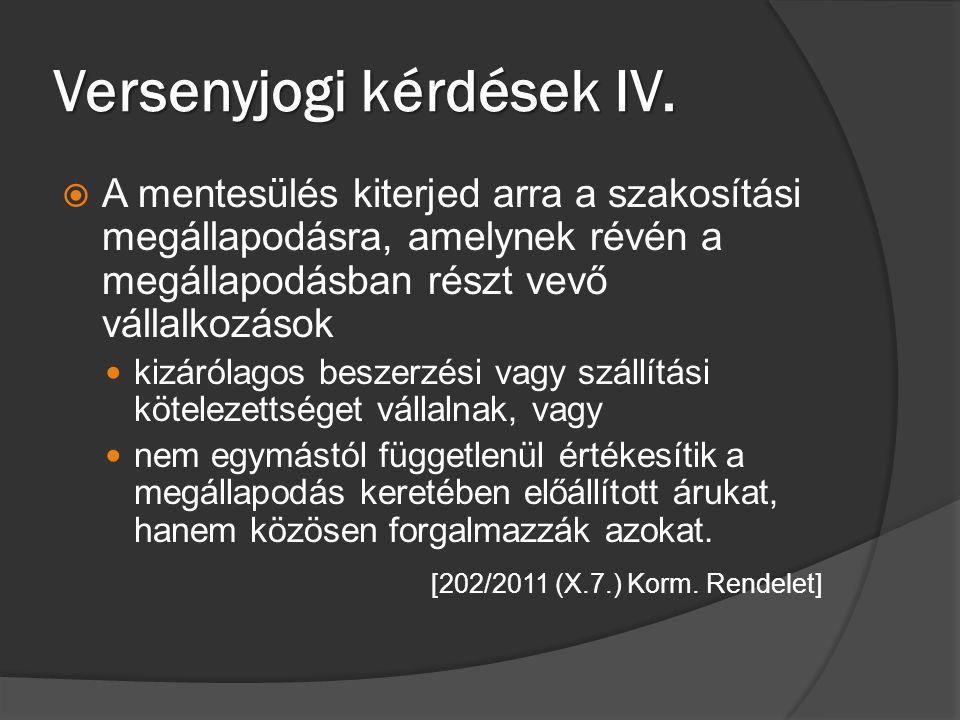 Versenyjogi kérdések IV.