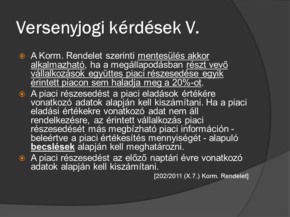 Versenyjogi kérdések V.
