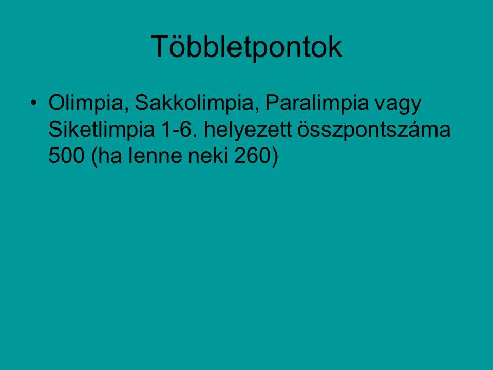 Többletpontok Olimpia, Sakkolimpia, Paralimpia vagy Siketlimpia 1-6.