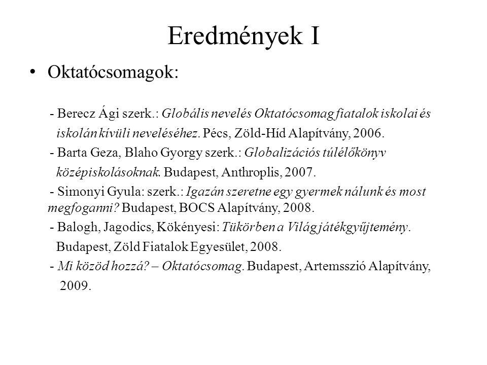 Eredmények I Oktatócsomagok: