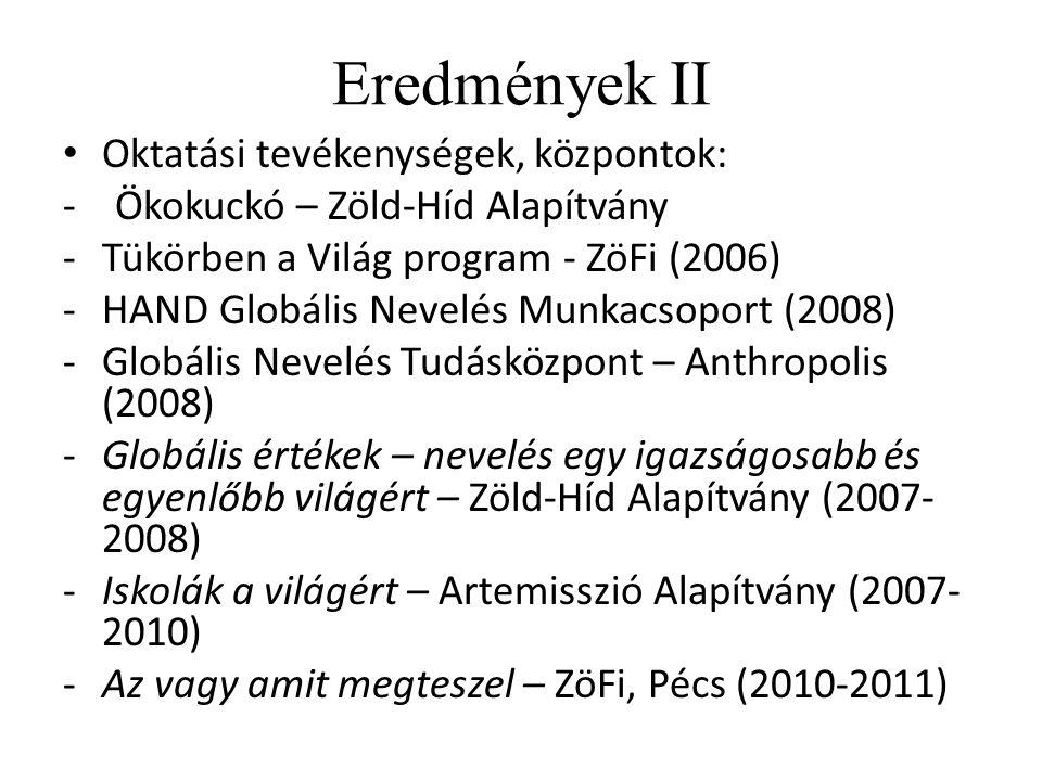 Eredmények II Oktatási tevékenységek, központok: