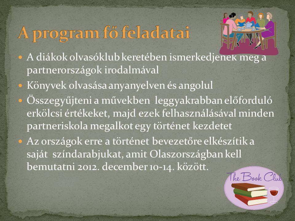 A program fő feladatai A diákok olvasóklub keretében ismerkedjenek meg a partnerországok irodalmával.