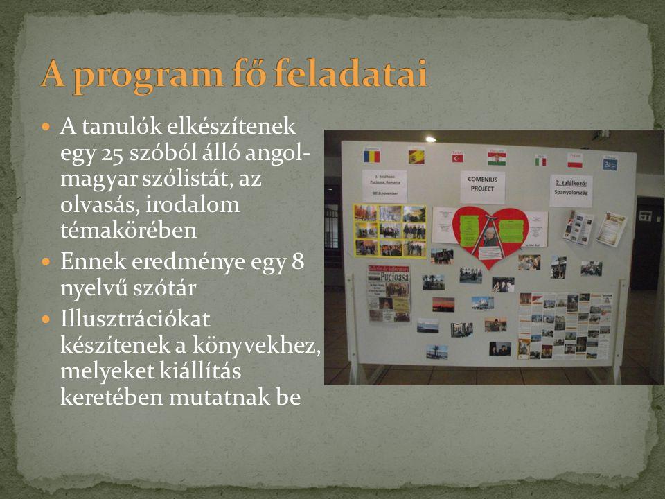 A program fő feladatai A tanulók elkészítenek egy 25 szóból álló angol- magyar szólistát, az olvasás, irodalom témakörében.