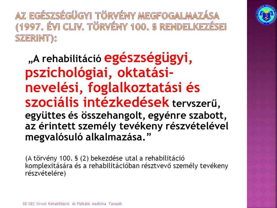 Az egészségügyi törvény megfogalmazása (1997. évi CLIV. Törvény 100