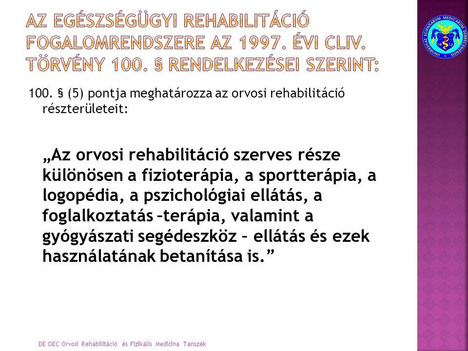 Az egészségügyi rehabilitáció fogalomrendszere az 1997. évi CLIV