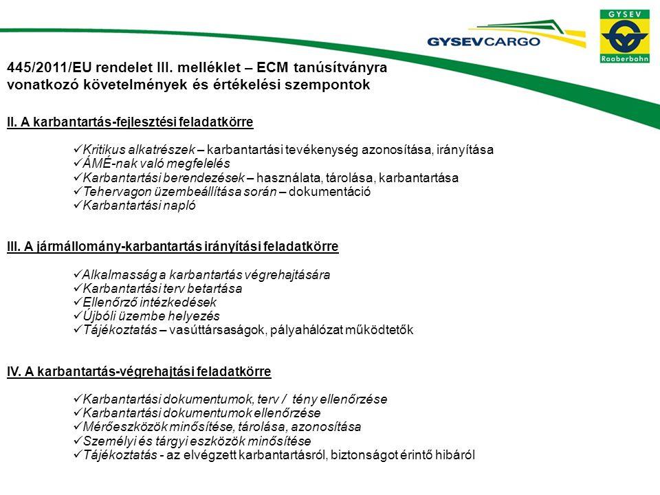 445/2011/EU rendelet III. melléklet – ECM tanúsítványra