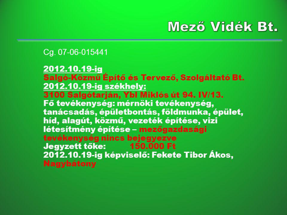 Mező Vidék Bt. Cg. 07-06-015441. 2012.10.19-ig. Salgó-Közmű Építő és Tervező, Szolgáltató Bt. 2012.10.19-ig székhely: