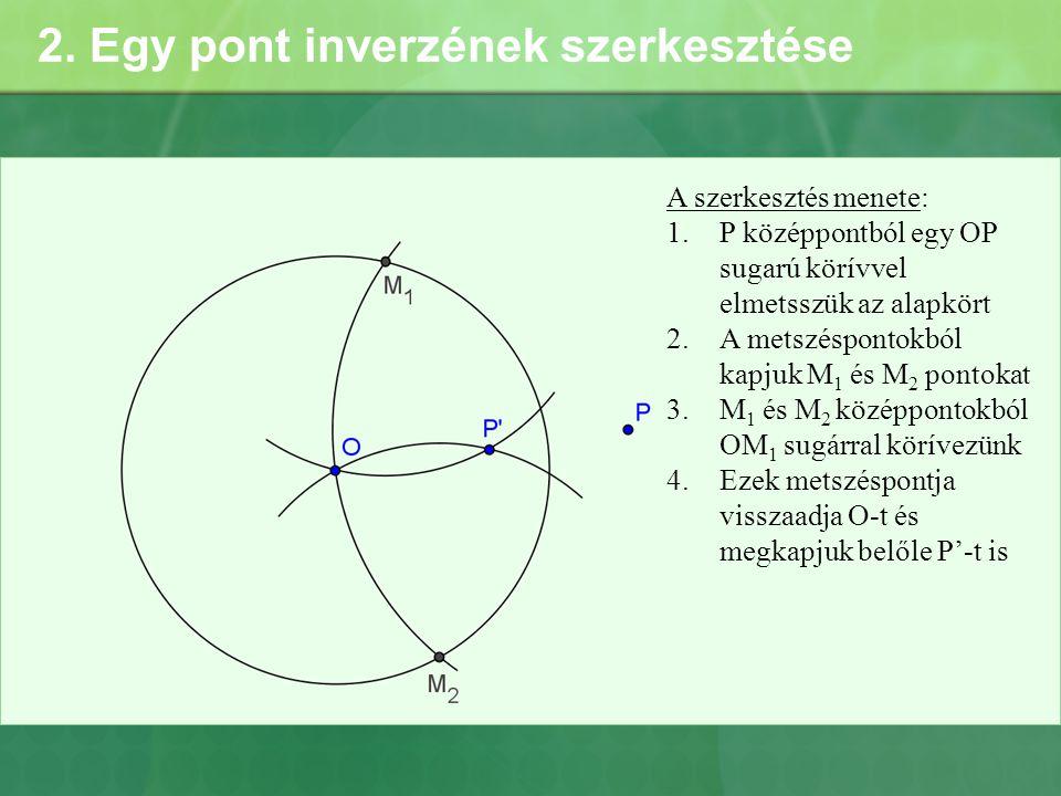 2. Egy pont inverzének szerkesztése
