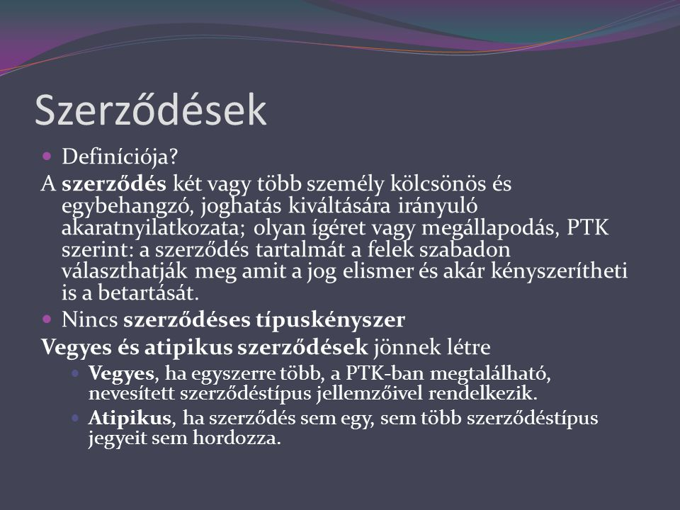 Szerződések Definíciója