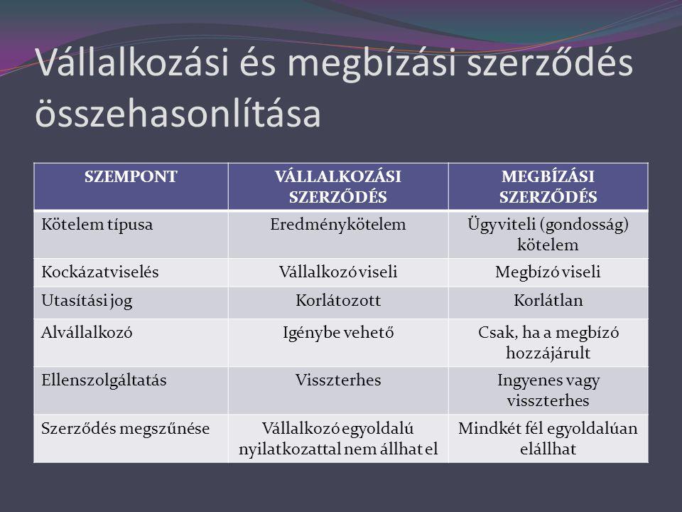 Vállalkozási és megbízási szerződés összehasonlítása