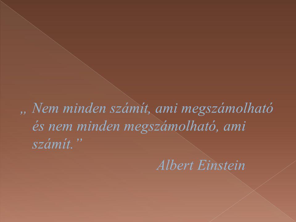 """"""" Nem minden számít, ami megszámolható és nem minden megszámolható, ami számít. Albert Einstein"""