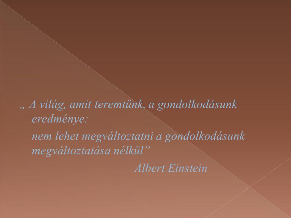 """"""" A világ, amit teremtünk, a gondolkodásunk eredménye: nem lehet megváltoztatni a gondolkodásunk megváltoztatása nélkül Albert Einstein"""