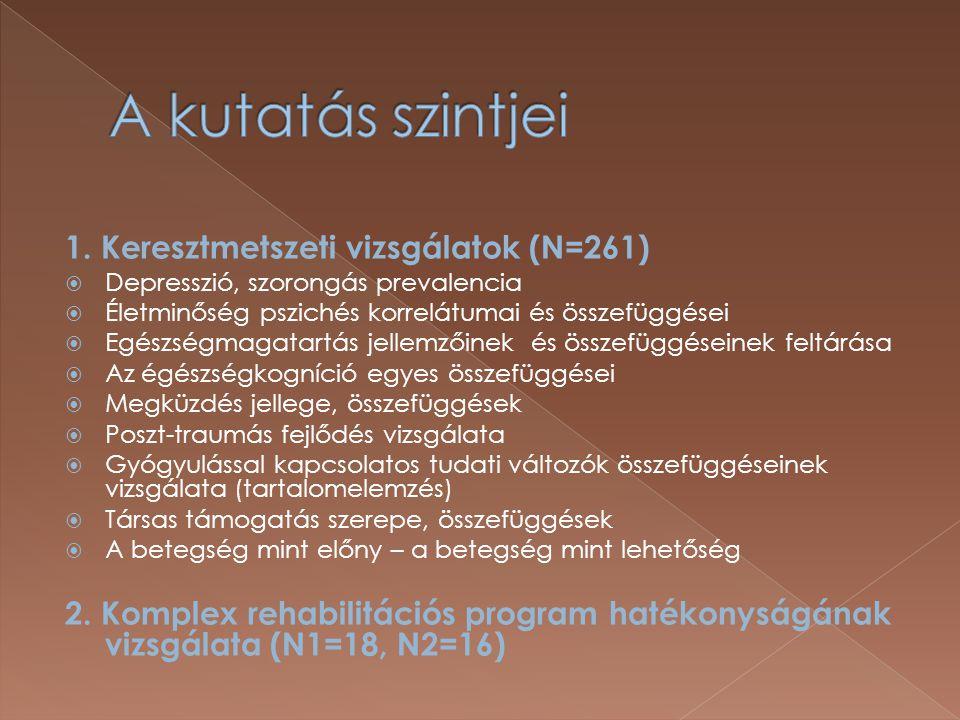 A kutatás szintjei 1. Keresztmetszeti vizsgálatok (N=261)