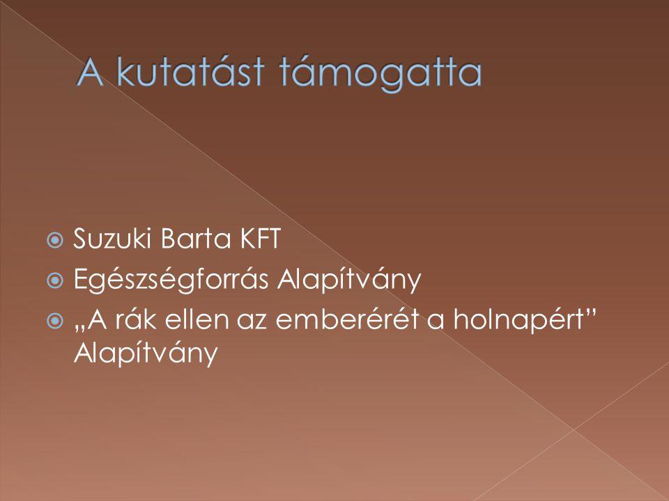 A kutatást támogatta Suzuki Barta KFT Egészségforrás Alapítvány