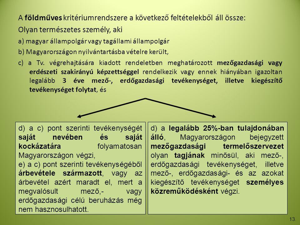 A földműves kritériumrendszere a következő feltételekből áll össze: