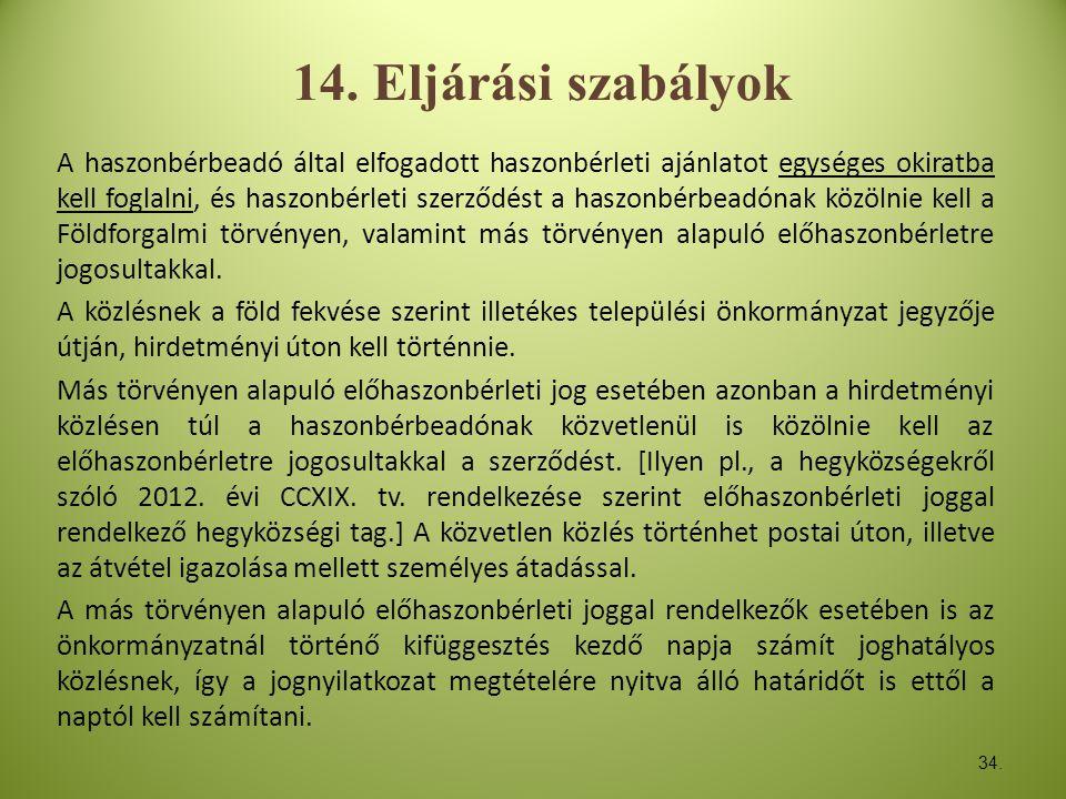 14. Eljárási szabályok