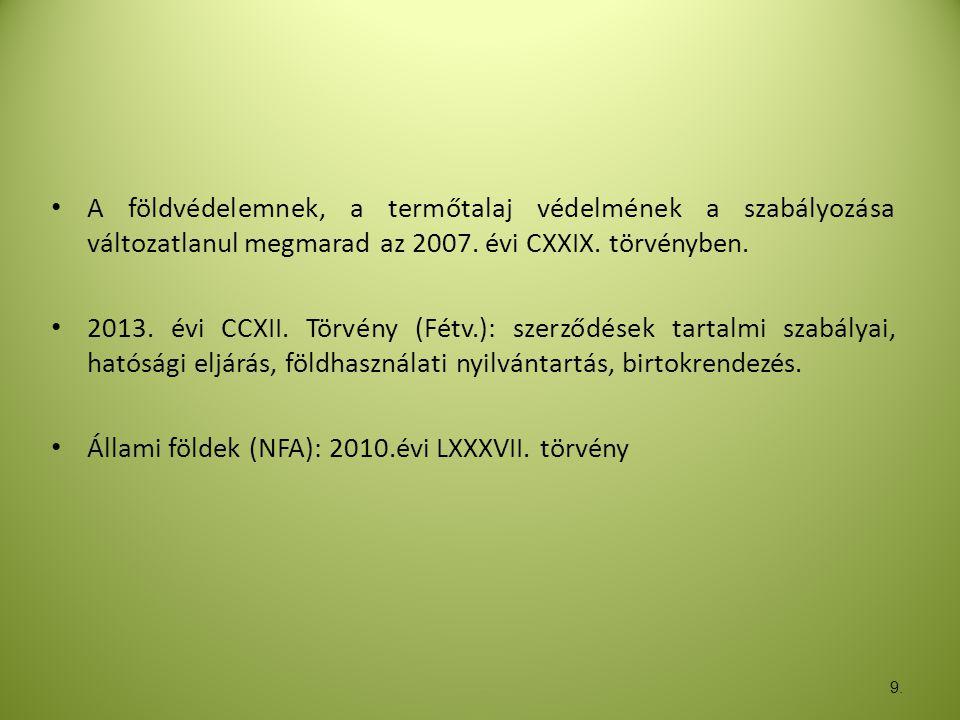 Állami földek (NFA): 2010.évi LXXXVII. törvény