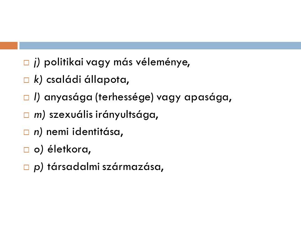 j) politikai vagy más véleménye,