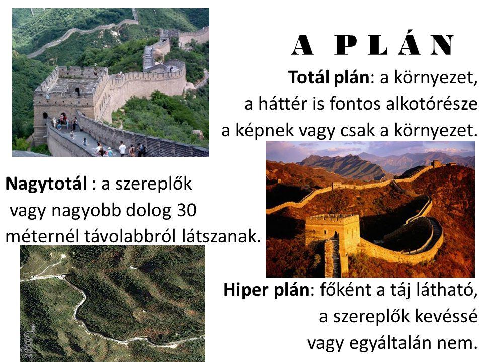 A P L Á N Totál plán: a környezet, a háttér is fontos alkotórésze