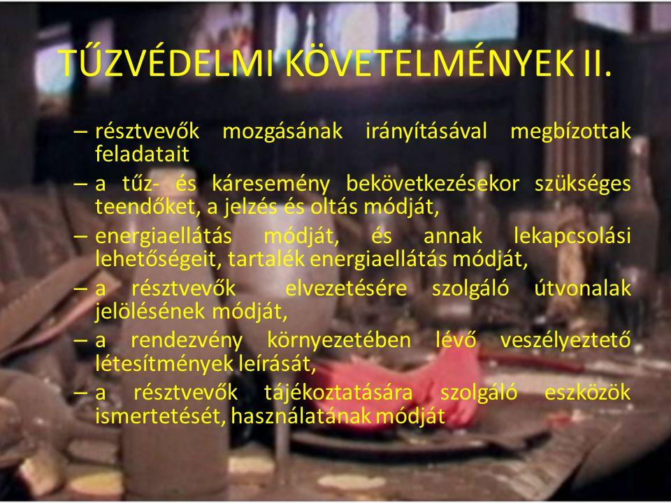 TŰZVÉDELMI KÖVETELMÉNYEK II.