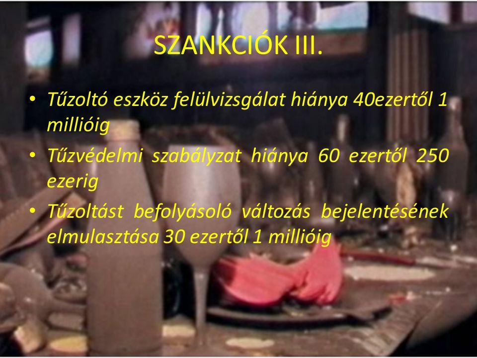 SZANKCIÓK III. Tűzoltó eszköz felülvizsgálat hiánya 40ezertől 1 millióig. Tűzvédelmi szabályzat hiánya 60 ezertől 250 ezerig.
