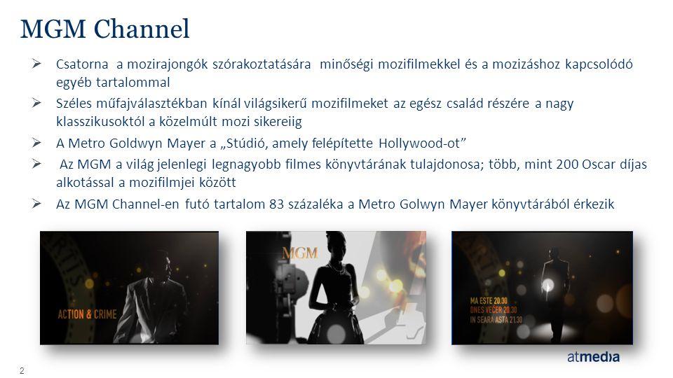 MGM Channel Csatorna a mozirajongók szórakoztatására minőségi mozifilmekkel és a mozizáshoz kapcsolódó egyéb tartalommal.