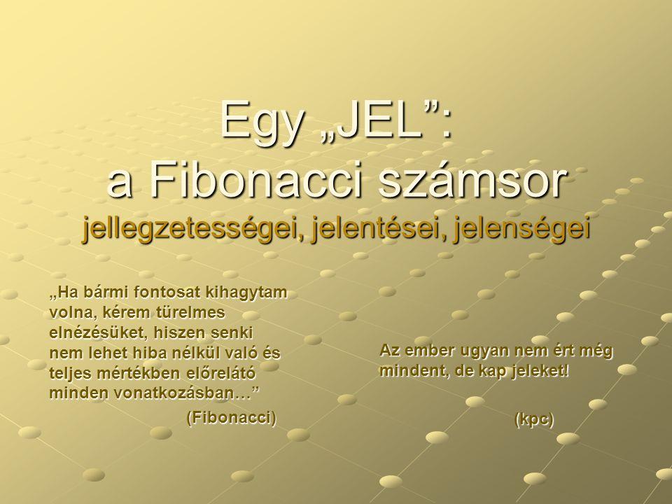 """Egy """"JEL : a Fibonacci számsor jellegzetességei, jelentései, jelenségei"""