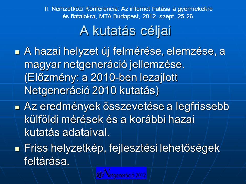 II. Nemzetközi Konferencia: Az internet hatása a gyermekekre és fiatalokra, MTA Budapest, 2012. szept. 25-26.