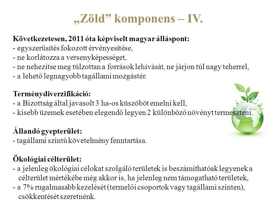 """""""Zöld komponens – IV. Következetesen, 2011 óta képviselt magyar álláspont: - egyszerűsítés fokozott érvényesítése,"""