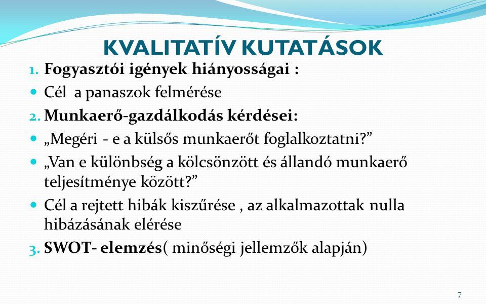 KVALITATÍV KUTATÁSOK Fogyasztói igények hiányosságai :