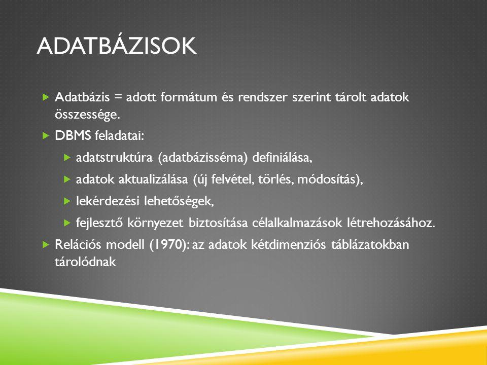 Adatbázisok Adatbázis = adott formátum és rendszer szerint tárolt adatok összessége. DBMS feladatai: