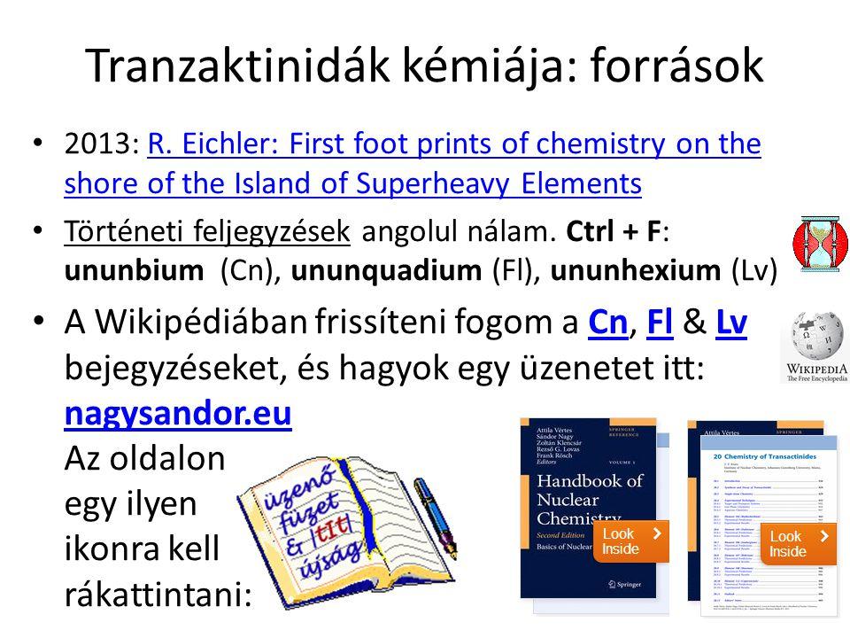 Tranzaktinidák kémiája: források