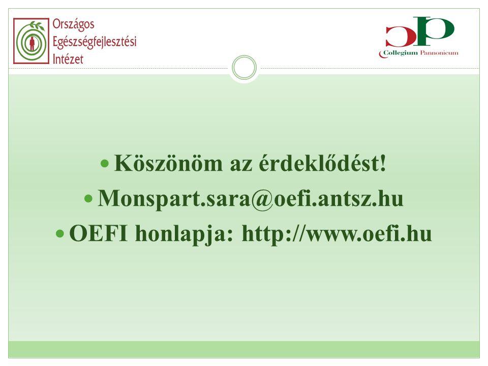 Köszönöm az érdeklődést! OEFI honlapja: http://www.oefi.hu