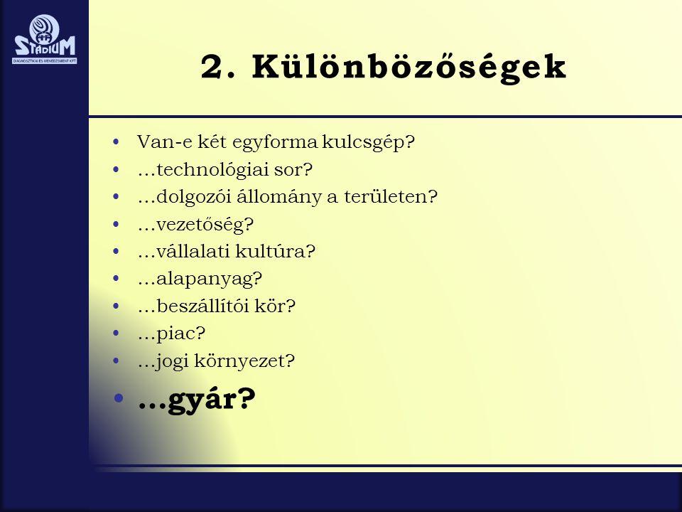 2. Különbözőségek …gyár Van-e két egyforma kulcsgép