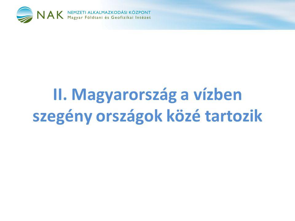 II. Magyarország a vízben szegény országok közé tartozik