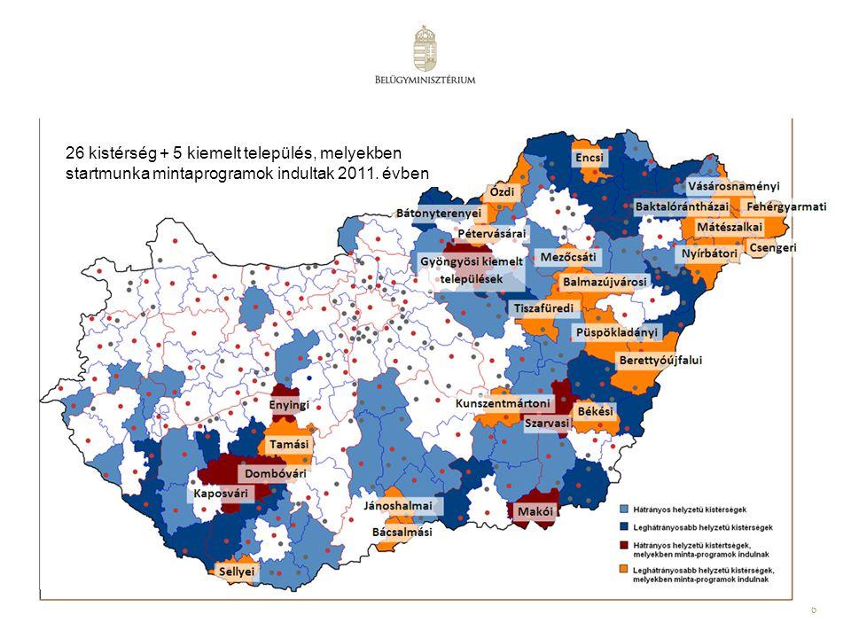 26 kistérség + 5 kiemelt település, melyekben startmunka mintaprogramok indultak 2011. évben