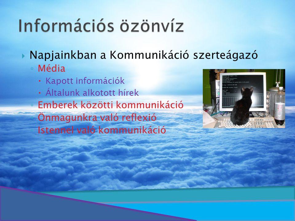 Információs özönvíz Napjainkban a Kommunikáció szerteágazó Média