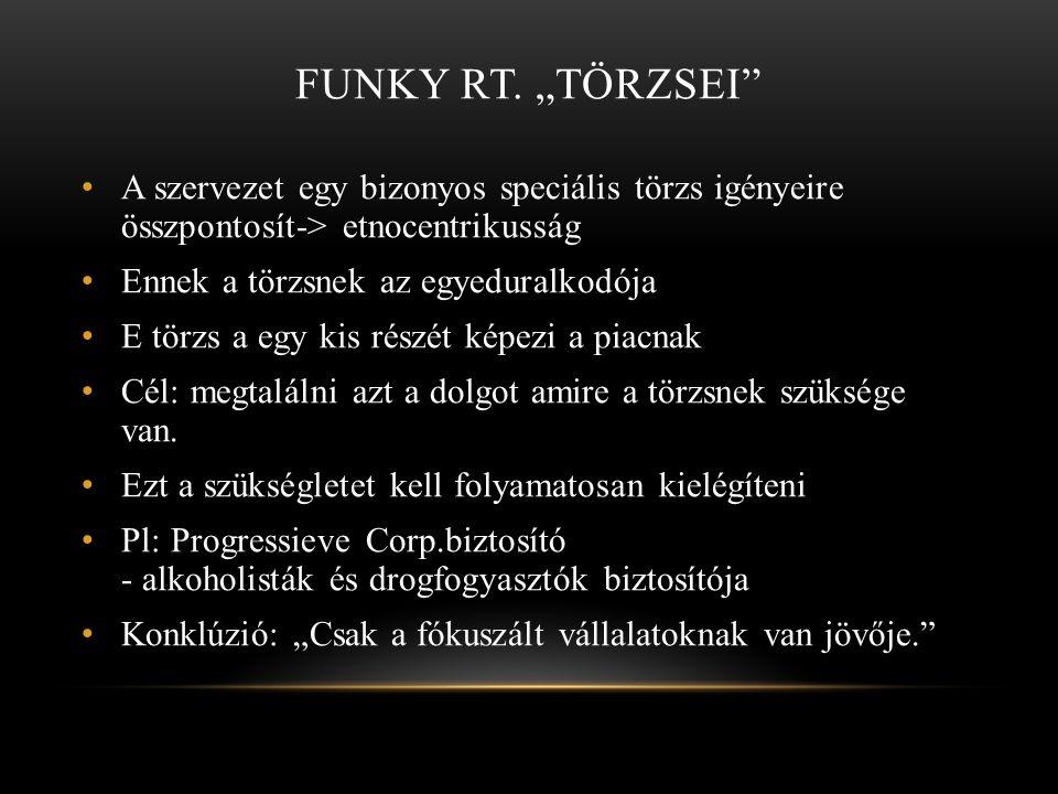 """Funky Rt. """"törzsei A szervezet egy bizonyos speciális törzs igényeire összpontosít-> etnocentrikusság."""