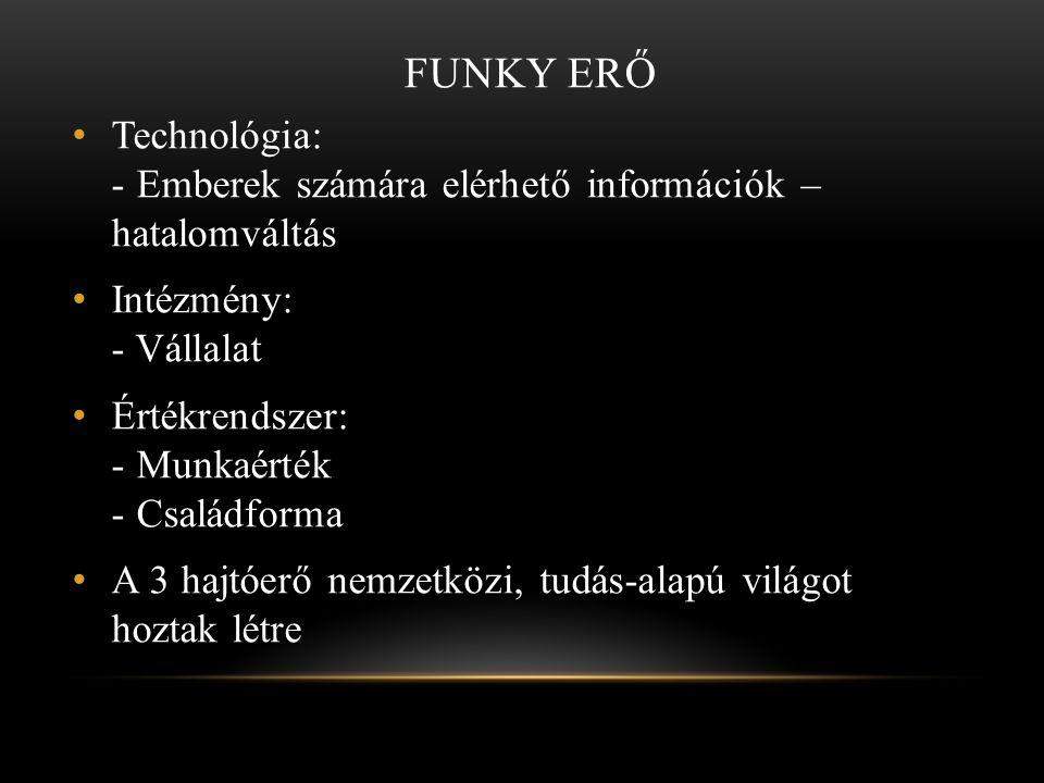 Funky erő Technológia: - Emberek számára elérhető információk – hatalomváltás. Intézmény: - Vállalat.